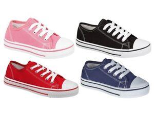 581a9e4d958a Flat Canvas Pumps Lace Up Boys Girls Trainers Shoes Childrens ...