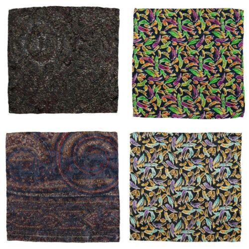 Lot of 4 Men/'s SANTOSTEFANO Abstract Silk Handkerchief Pocket Square Bundle