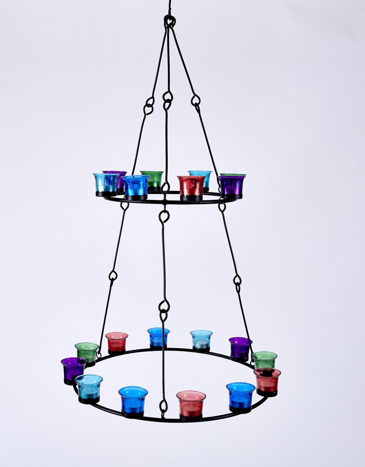 Tea light chandelier double tier multi coloured glass by bell tent tea light chandelier double tier multi coloured glass by bell tent boutique arubaitofo Gallery