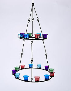 Tea-Light-Chandelier-Double-Tier-Multi-Coloured-Glass-  sc 1 st  eBay & Tea Light Chandelier (Double Tier) Multi Coloured Glass by Bell ...