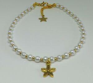 Glass-Pearl-Beaded-Anklet-Bohemian-Flower-Charm-Anklet-Beach-Anklet-Gold-Tones
