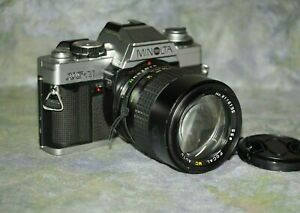Minolta-XG-M-SLR-35mm-camera-with-Focal-135mm-f2-8-lens-Preowned-Tested-Working