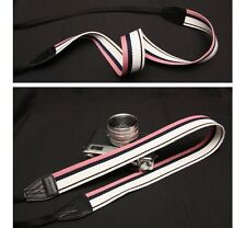 New Arnuvo Pink/White/Black Strip Pattern Camera Neck Strap (no. 611948)