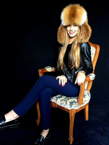 Natural Red Fox Fur Full Ushanka Hat Adjustable Saga Furs Aviator Trapper Hat