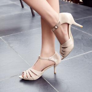 Fashion-Women-039-s-T-strap-Kitten-Heels-Peep-Toe-Ladies-Sandals-Ankle-Buckle-Shoes