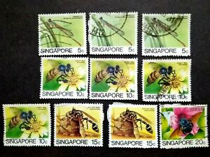 Singapore-1985-Insects-Loose-Set-Up-To-20c-Extra-10v-Used-8