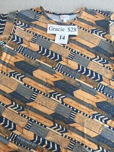 New-Nwt-Lularoe-Gracie-Size-14-Tan-Blue-Aztec-Pretty-Summer-Indian