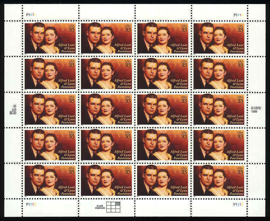 1999 33c Lunt & Fontaine, Actors, Sheet of 20 Scott 328