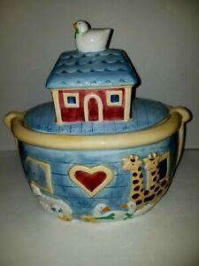 Noahs-Ark-Certified-International-Susan-Winget-Ceramic-Cookie-Jar-Pre-Owned