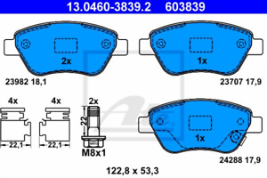 Scheibenbremse für Bremsanlage Vorderachse ATE 13.0460-3839.2 Bremsbelagsatz