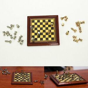 1-12-Scale-Miniature-International-Chess-Game-Board-Dolls-House-Accessory-Set