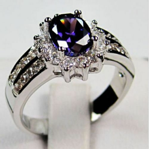 Size 6-12 Purple Lab Amethyst Engagement Ring Women's Crystal White Gold Filled