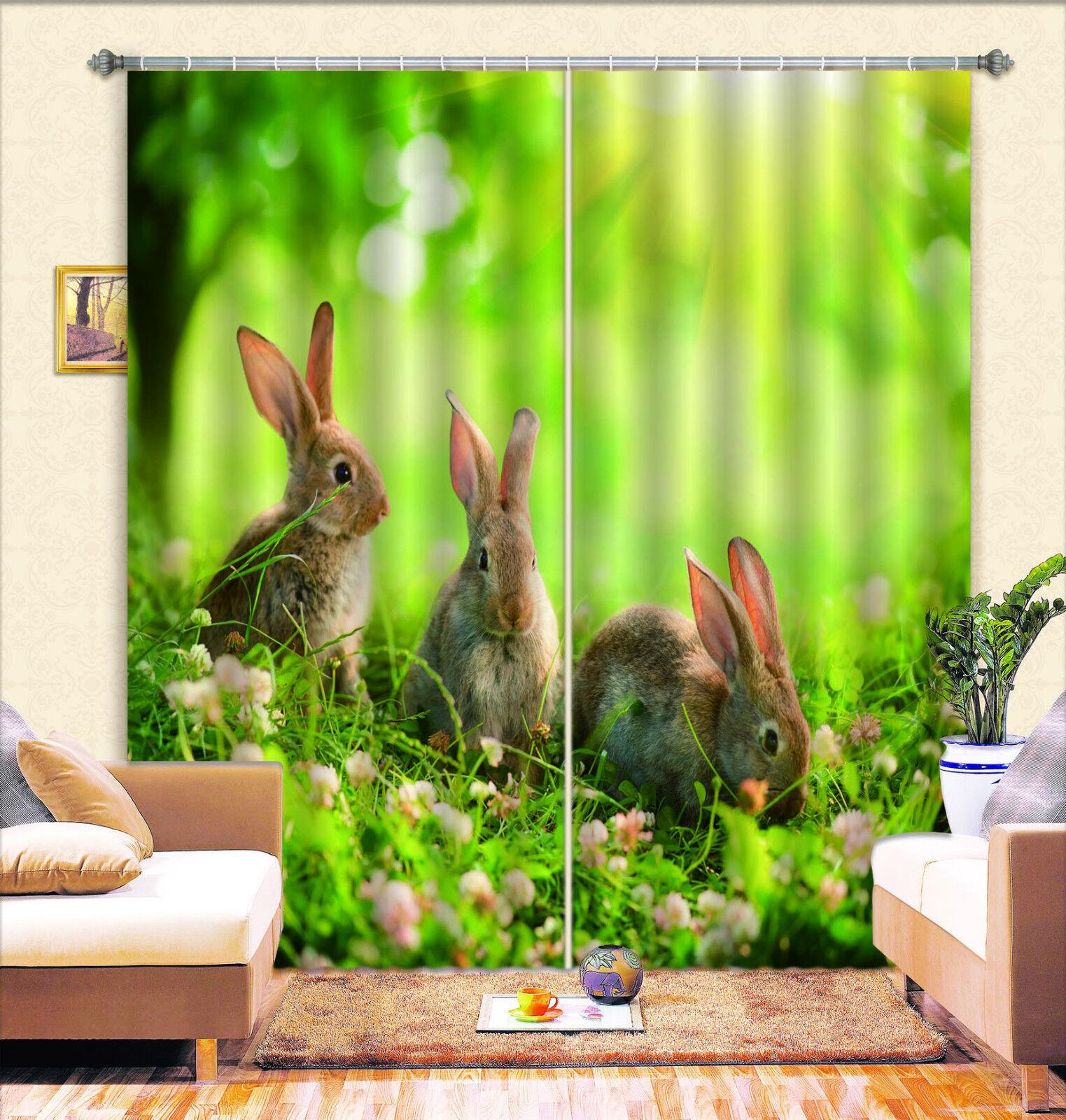 3d hierba conejos 7 bloqueo foto cortina cortina de impresión sustancia cortinas de ventana