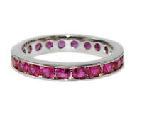 Round Cut Ruby Red Aaa Cubic Zirconia Cz Eternity Band Ring-great Ring Guard