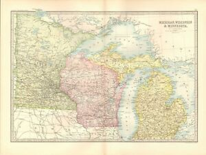 1890 ANTIQUE MAP - USA, MICHIGAN, WISCONSIN & MINNESOTA, LAKES | eBay