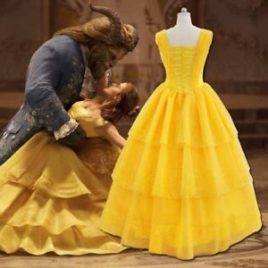 Beauty And The Beast Adult Princess Belle Cosplay Costume Ball Gown