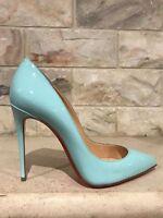 Christian Louboutin Pigalle Follies 100 Blue Source Patent Pump Heel Shoe 39