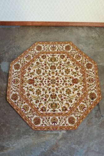 Dollhouse Miniature Octagonal Rug Floral Gold Cream Tan 1:12 Scale 6 3//4/""