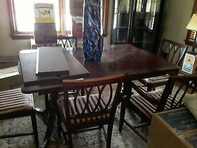 Antique Dining Room Suite 6 Chair Table, Antique Dining Room Furniture 1950