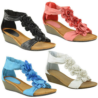 LADIES WOMENS SUMMER SANDALS STRAPPY FLORAL FLAT LOW HEEL WEDGE BEACH SHOES SIZE | eBay