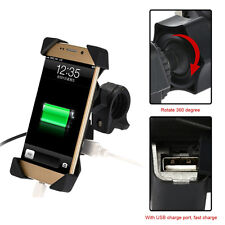 Motorcycle ATV Cell Phone GPS Mount Holder USB Charger For Samsung iPhone 3.5-7""