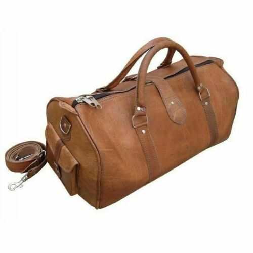 MEN/'S VINTAGE GENUINE LEATHER HOLDALL TRAVEL WEEKEND CABIN SPORTS DUFFEL BAG TAN