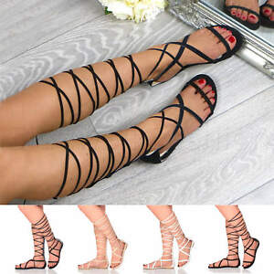 Womens-ladies-flat-tie-up-lace-up-wrap-around-strappy-knee-high-sandals-size