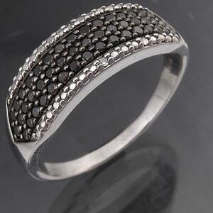 DRAMATIC-Lg-Size-49-BLACK-2-WHITE-DIAMOND-9k-Solid-GOLD-ETERNITY-RING-Sz-V