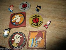 Hergé-Lot anciennes gommes,pin s-Thème Congo,Amerique,lune,incas,reporter