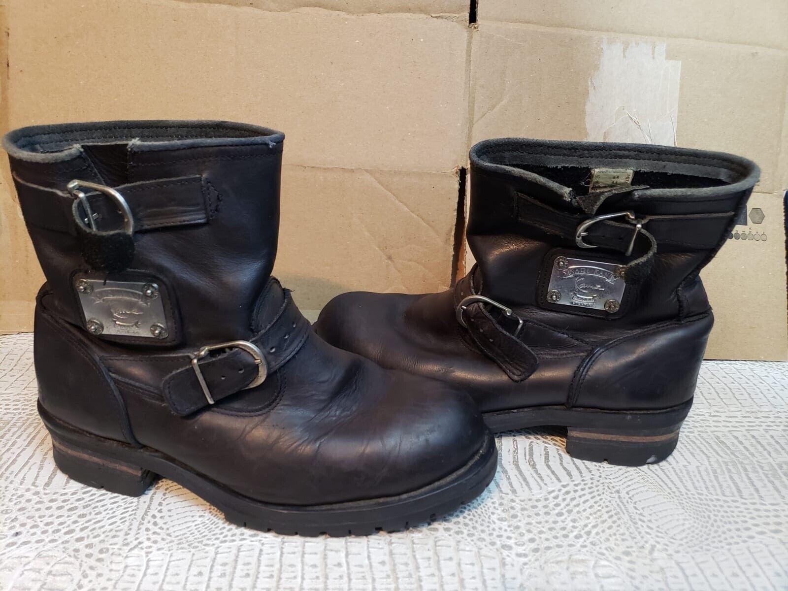 Vintage 90s Karl Kani Silver Plate Black Leather Buckle Boots 9.5 Hip Hop Rare
