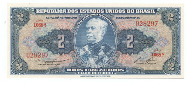 Brazil 2 Cruzeiros ND 1954-58 Pick 151.b UNC Uncirculated Banknote