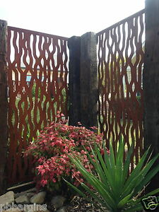 Metal-laser-cut-rust-Tree-Bark-feature-wall-panel-privacy-screen-FREE-DEL-MELB
