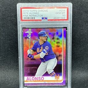 PSA 10! 🚨2019 Topps Chrome Pink Refractor Pete Alonso Mets RC Rookie #204