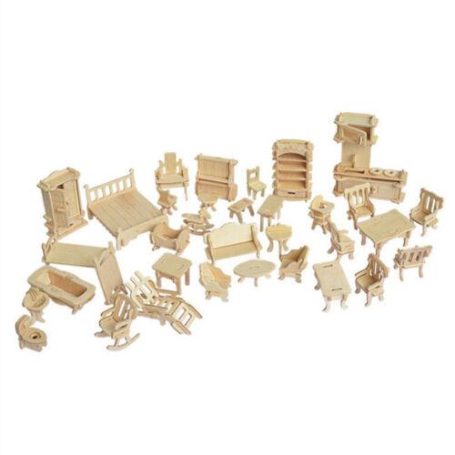 Rompecabezas De Madera 3D HAZLO TÚ MISMO Casa de Muñecas Escala Miniatura Modelos Casa Muñeca Conjunto Uno