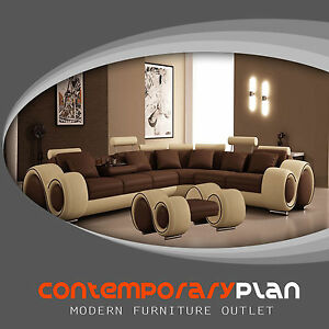 Awesome Details About Brown And Beige Franco Sectional Sofa With Ottoman Modern Italian Design Couch Unemploymentrelief Wooden Chair Designs For Living Room Unemploymentrelieforg