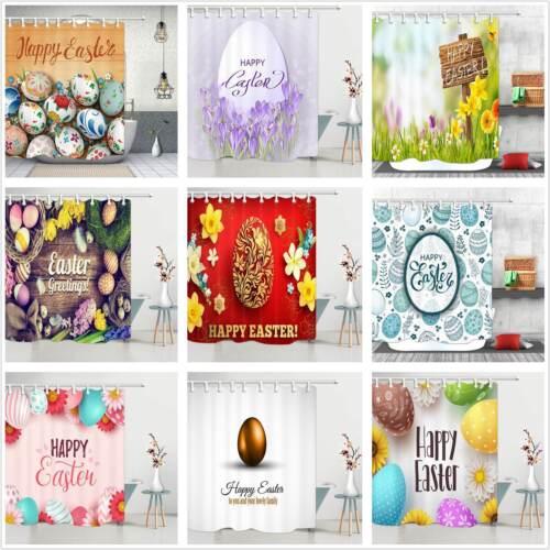 Happy Easter Bathroom Waterproof Fabric Shower Curtain /& Hooks Set eggs rabbit