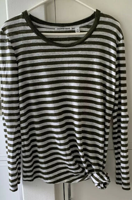 Country Road Linen Breton Long Sleeve Tshirt XS/8-10 EUC