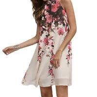 Boho Women Floral Sleeveless Party Tops Ladies Summer Beach Swing Mini Dresses