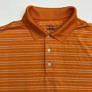 Walter Hagen Hydro-Dri Polo Shirt Mens 2XL XXL Short Sleeve Orange White Striped