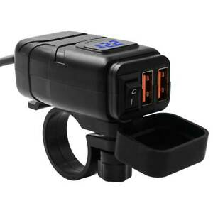 Dual-USB-Port-Motorbike-Motorcycle-Charger-Power-Adapter-Socket-Waterproof-US