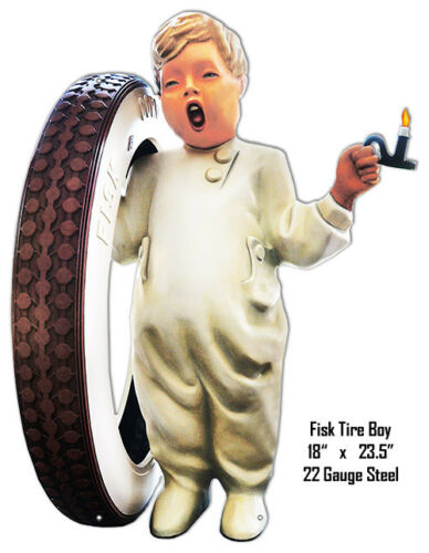 Fisk Tire Boy Reproduction Laser Cut Out Metal Sign 18x23.5
