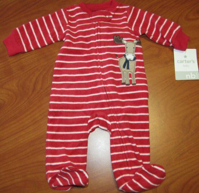 babc7904a Newborn Carter s Baby Clothes Pajama Sleeper Red Christmas Reindeer ...