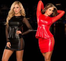 Sexy Women's Black Sheer Mesh PVC Leather Club wear Top Shirt+Mini Dress Set Red