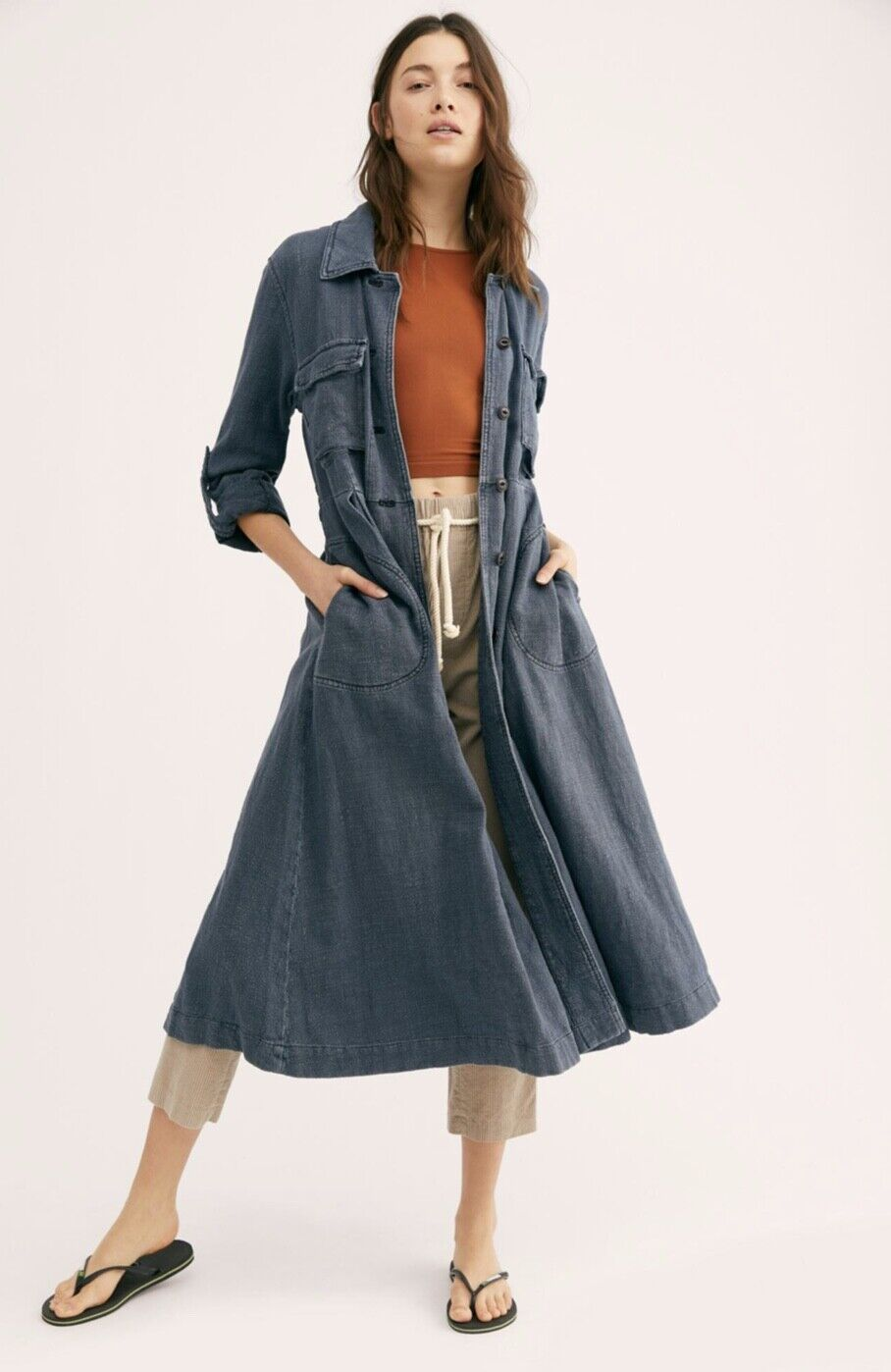 NWT Free People bluee Linen Viscose Button Front Midi Maxi Duster Coat Dress XS