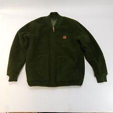 "Mens OBEY ""Freeway"" Sherpa Fleece Green Bomber Jacket Leather Logo Size Large"