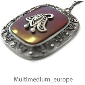 Silber-Anhaenger-Carneol-Markasiten-signiert-HFund-WN-silver-pendant-signed