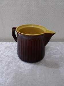 Antiker Keramik Krug feuerfester Boden - Vintage um 1900 - Braun - Landhaus-Stil