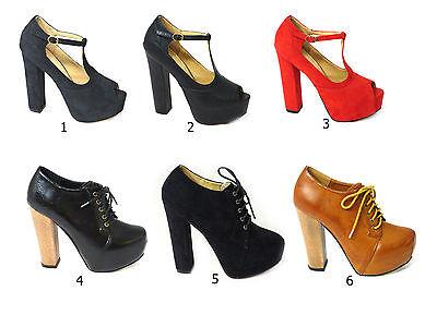 Para Mujer Damas Tacón Alto Con Encaje Hebilla Zapatos Liquidación Talla 3 4 5 6 7 8