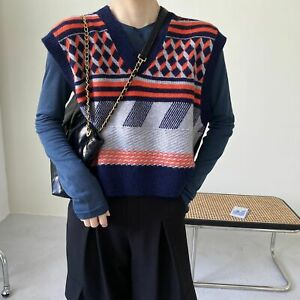 Women Knit Vest Korean Retro Style Loose Fit V Neck Sleeveless Sweater Cardigans Ebay Then, if necessary, you need to cut off any excess fabric up near the shoulders to make it the right fit for a girl. ebay