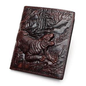 Portefeuilles-de-Luxe-homme-en-Cuir-Veritable-Sculpte-Dragon-Tigre-Crocodile